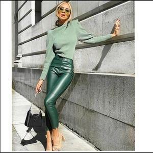 NEW Zara Faux Leather High Waist Leggings Blogger Fave NWT